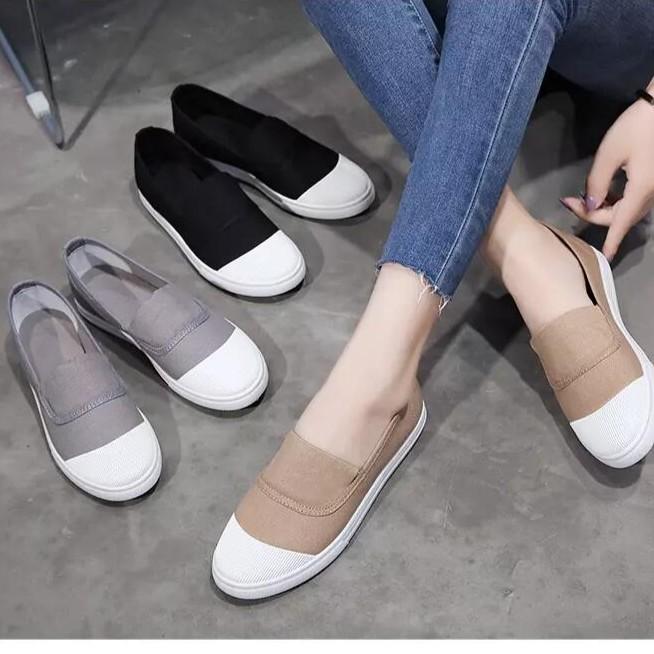 2017 帆布鞋女鞋休閒百搭女鞋 學生布鞋低幫賴人鞋一腳蹬平底鞋