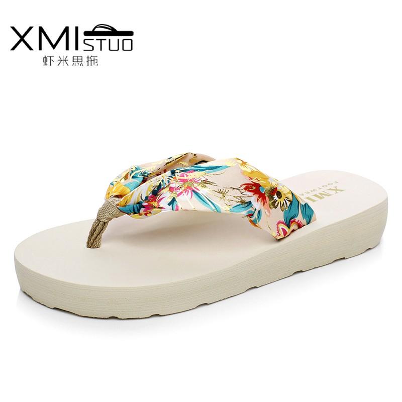 夾腳大碼人字拖鞋女防滑厚底坡跟簡約度假沙灘涼拖鞋