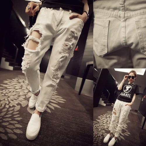 ▲牛仔褲▲韓國 學生街拍潮款破洞水洗百搭顯瘦白色牛仔哈倫褲