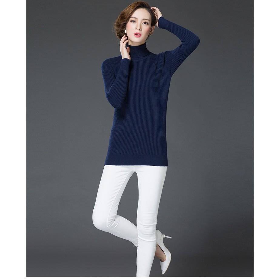 女士針織羊絨衫 套頭大碼打底羊毛衫中長款高領毛衣