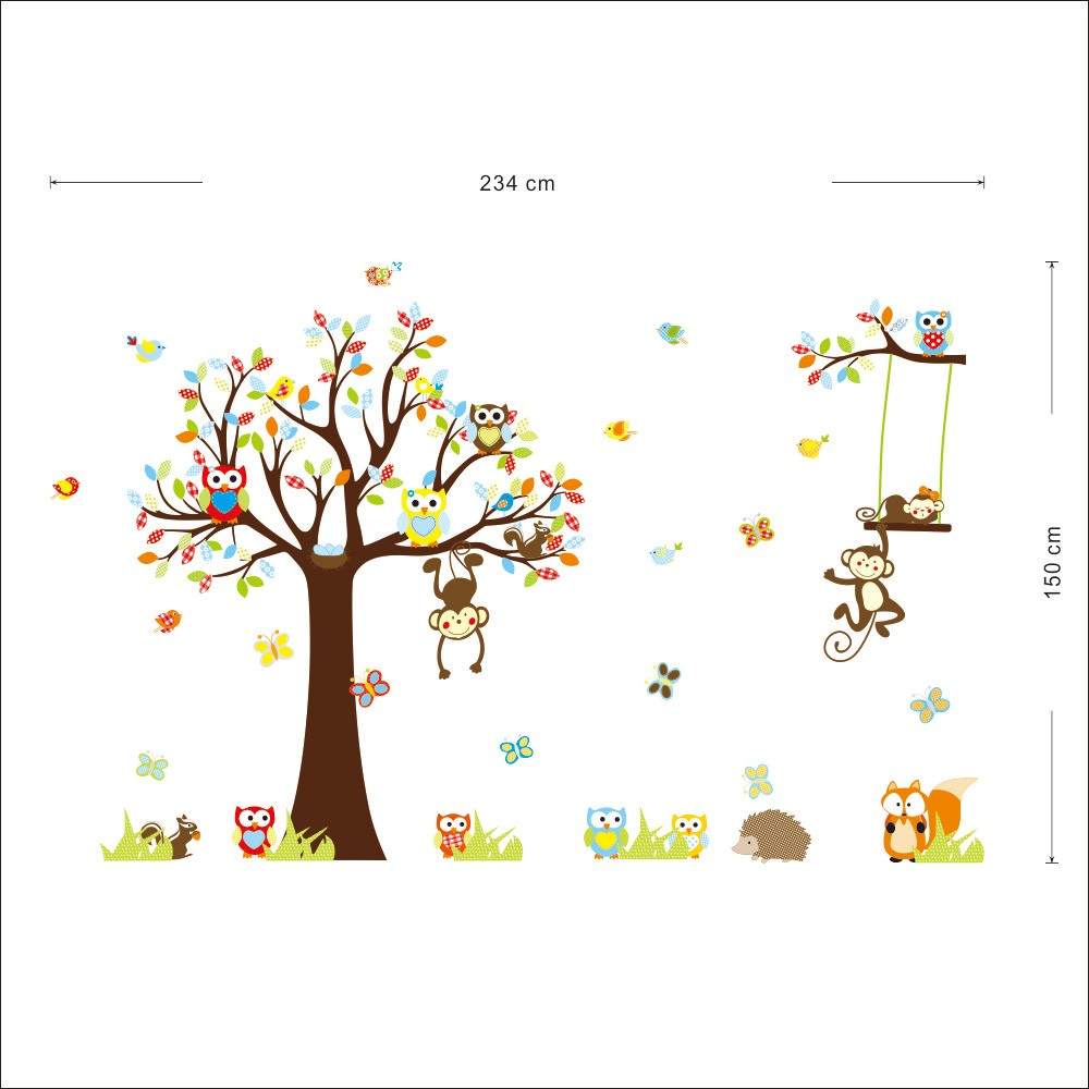 VIVREAL 1212 234 150 可拆卸松鼠貓頭鷹猴子兒童房牆貼紙寶寶幼稚園房間裝
