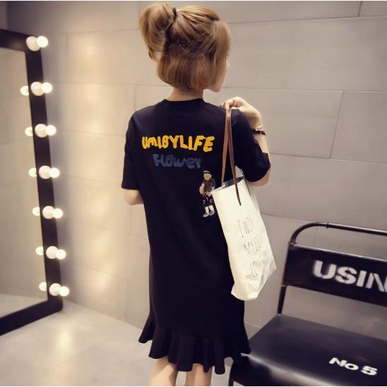 正韓洋裝 連衣裙魚尾洋裝百褶裙字母印花寬鬆顯瘦寬裙學生韓妞 加大