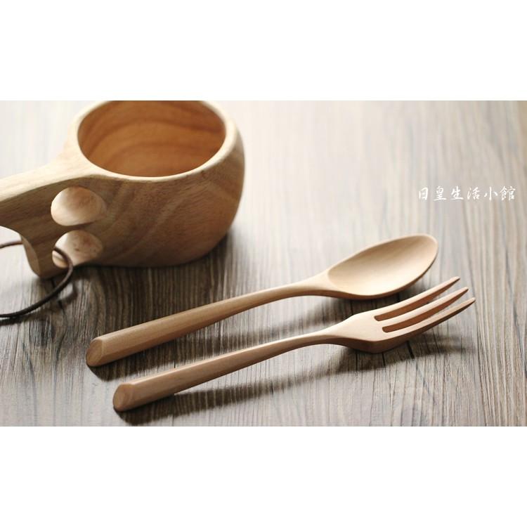 ~日正~湯匙叉子實木湯匙原木三角木勺叉子兩件組日式和風木質餐具組