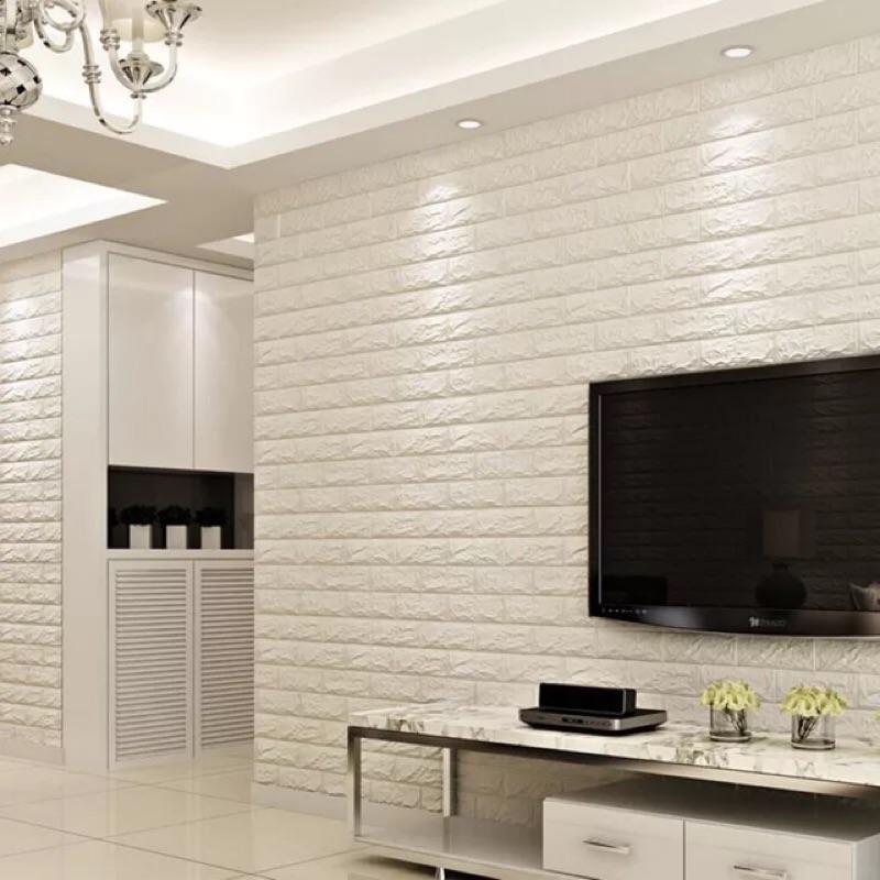 第 隔音壁貼70x77cm 防水壁癌剋星背膠Diy 自黏白色磚牆3D 仿真居家室內裝潢服飾