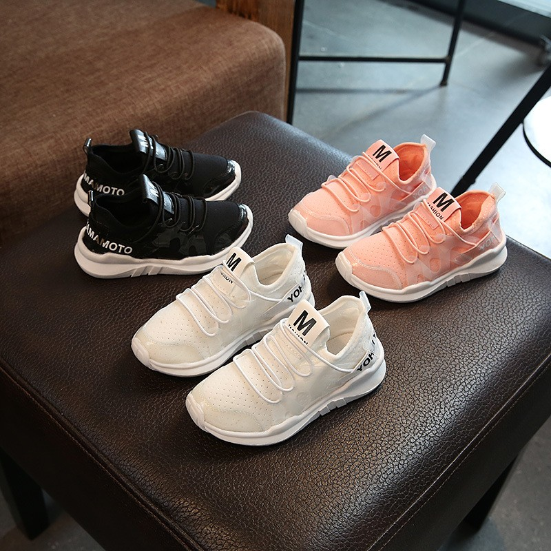 2017 年 糖果色童鞋兒童 鞋男童鞋女童鞋萊卡彈力布果凍鞋學生鞋親子鞋粉色透氣網鞋跑步鞋