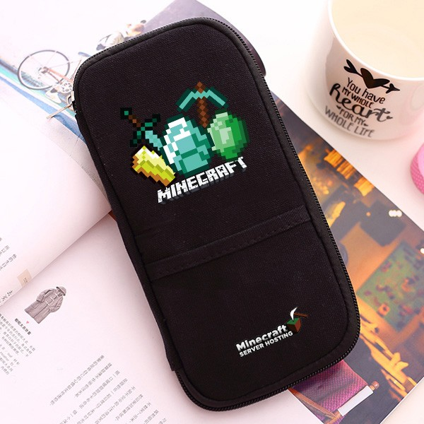 我的世界筆袋minecraft 苦力怕末影人周邊游戲文具盒皮夾錢夾