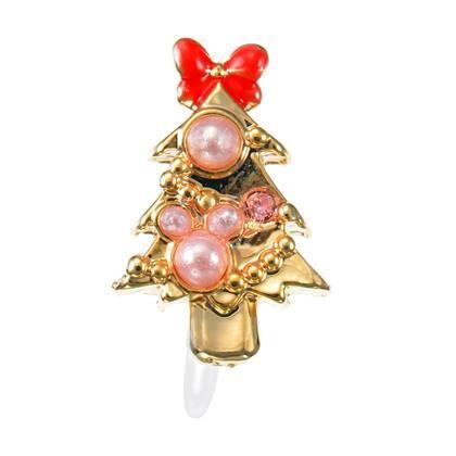 B Little World 東京迪士尼 限定米妮蝴蝶結聖誕樹耳環夾式東京連線