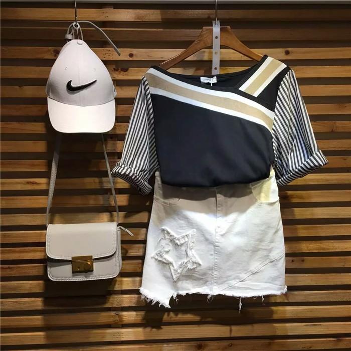 韓國複古款 領口撞色拼接寬松條紋五分袖T 恤女