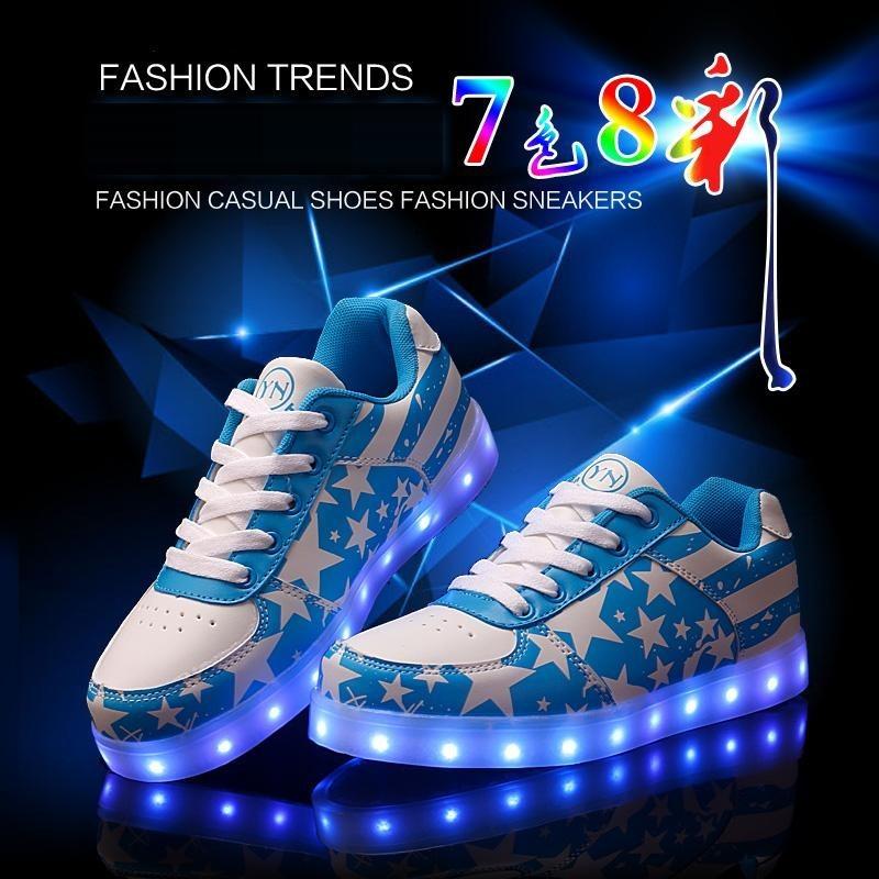 ~小人國衣鋪~ USB 充電LED 燈發光鞋男鞋潮流板鞋七彩熒光情侶鞋子男女n 字鞋