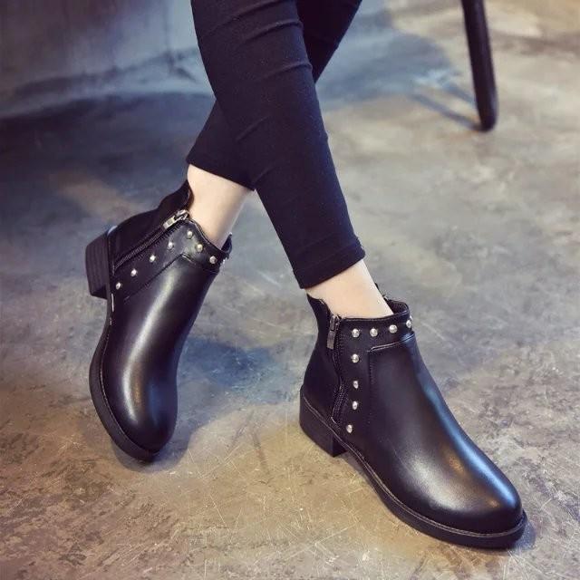 2016 秋 英倫復古粗跟短靴及裸靴女中跟圓頭馬丁靴短筒女靴子潮