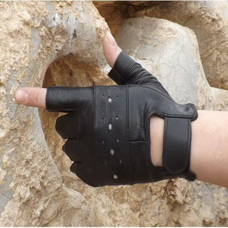 ~灰熊Q ~男款戶外戰術 半指手套 透氣真皮手套 防風手套保暖手套