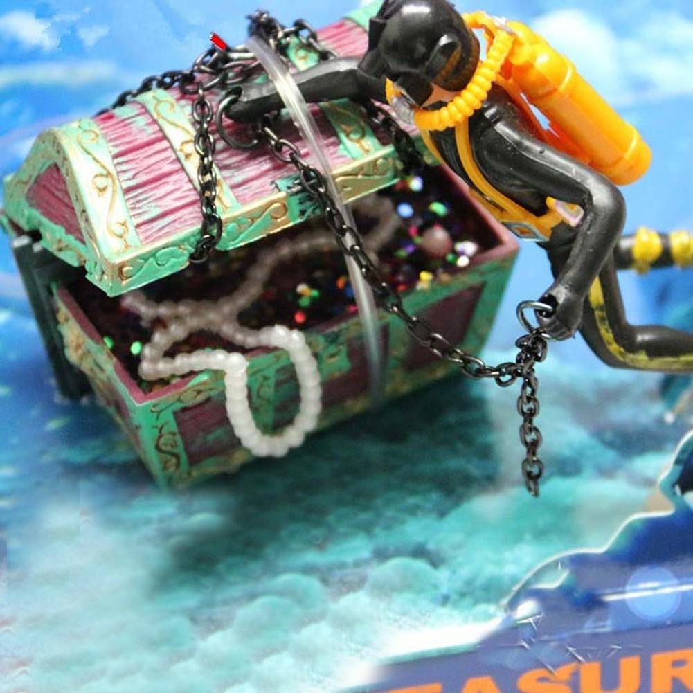 海馬氣動魚缸裝飾尋寶蛙人魚缸造景潛水夫寶箱黑色