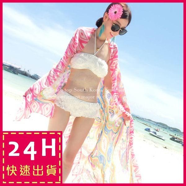 ~梨卡~ 泳裝批紗粉嫩小性感只屬你的甜美雪紡舒適遮肚顯瘦海邊渡假裹紗C098
