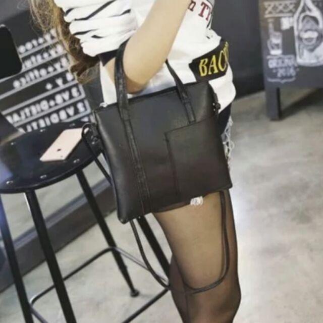 ( 取貨免 )韓國風百搭學院風黑色小包手提斜挎包簡約拉鍊PU 單肩包小包