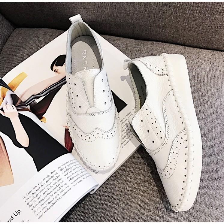 正韓空運全真皮♨強勢來台牛皮雕花平跟平底鞋簡約舒適單鞋女鞋休閒小白鞋