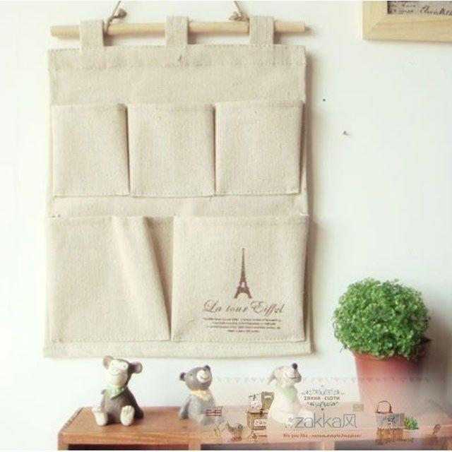 zakka 日韓外單巴黎鐵塔五格收納掛袋純木掛繩雜貨收納袋雜物袋