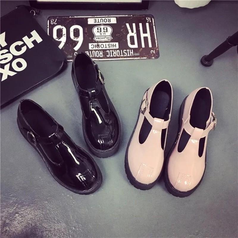 新品學院風復古小皮鞋英倫皮帶扣女鞋粗跟厚底娃娃鞋鬆糕單鞋