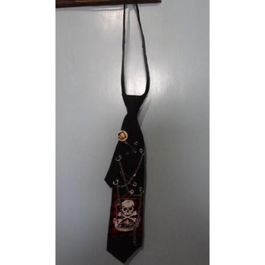 ~日系百搭龐克PUNK 骷髏頭紅色格紋別針鐵鍊拉鍊領帶~~