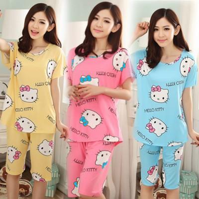 爆款 日系可愛卡通Hello Kitty 女士睡衣牛奶絲短袖五分褲睡衣家居服套裝女裝休閒可