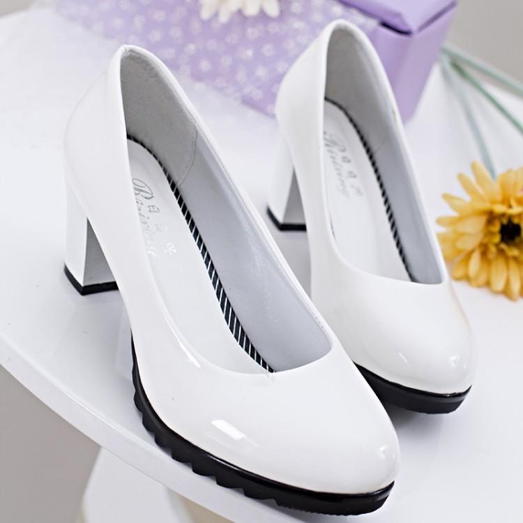 ~ 潮流小鋪~坡跟鞋高跟鞋尖頭鞋魚嘴鞋2016  圓頭中跟高跟單鞋OL 氣質職業單鞋白黑色