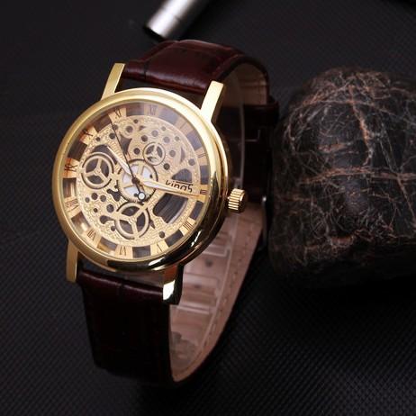 Kings 精時男士手錶防水真皮帶雙面鏤空非機械女學生石英情侶腕錶