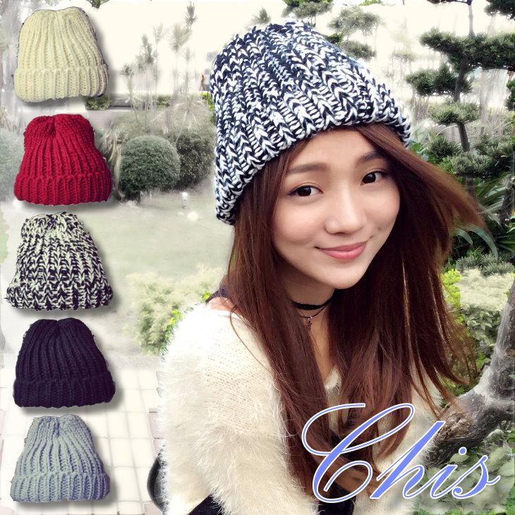 Chis Store ~小巧加厚針織帽~韓國 混色純色保暖毛線帽子毛帽男女情侶帽嘻哈帽 漁