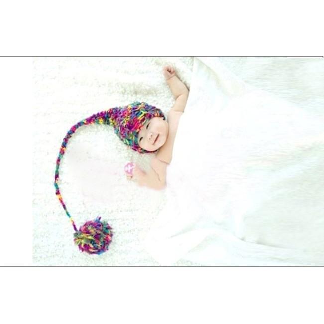 kabe 攝12 兒童攝影服裝服飾針織 毛線影樓寶寶百天滿月拍照七彩 帽 零售版媽
