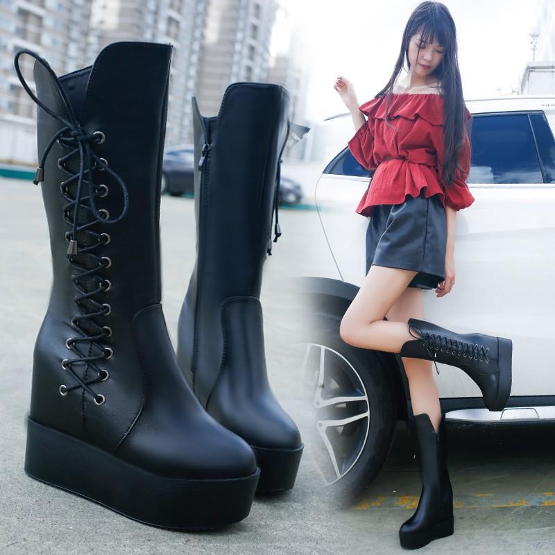 坡跟厚底內增高中筒靴超高跟馬裸靴丁靴松糕側拉鍊短靴女鞋