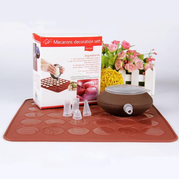 馬卡龍壺套裝MACARON 製作套裝 矽膠墊30 孔矽膠裱花器4 個花嘴擠花裱花蛋糕模馬卡