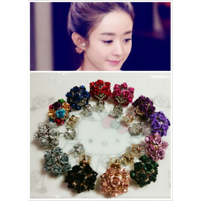 有 ~築夢e 飾界明星款浪漫玫瑰花球閃亮鋯石針式 耳環