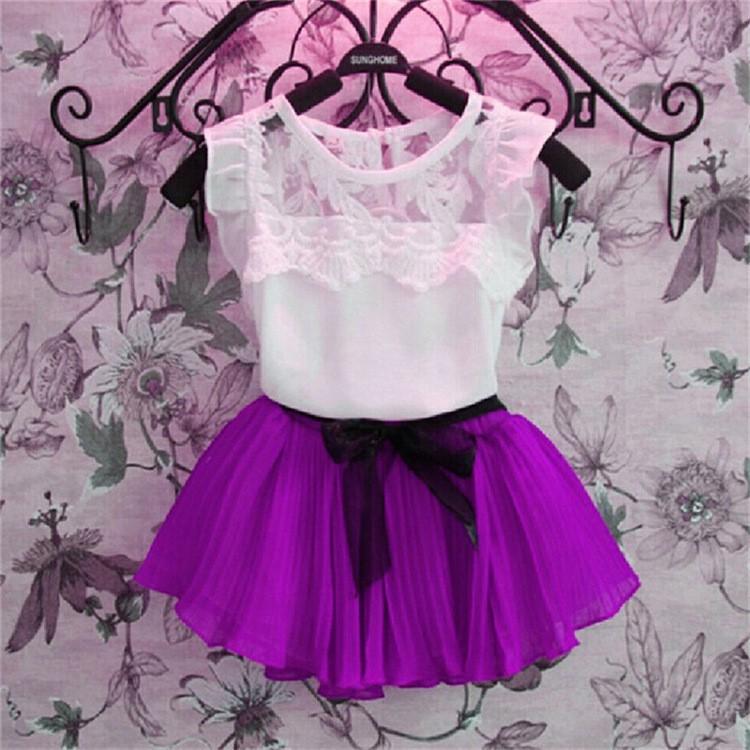 女孩蕾絲雪紡裙兩件套紫色