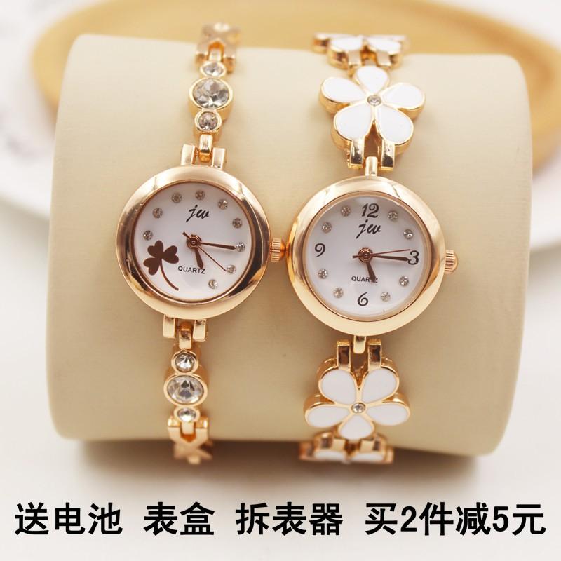 潮流 簡約休閒時裝女表復古石英手錶女士學生水鑽手鏈表