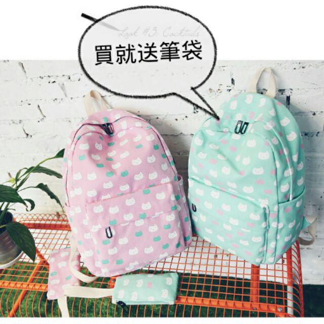 滿版貓咪背包~CAT s 貓森~ 買就送筆袋!滿版彩色貓咪後背包雙肩包5 色︳臺灣自創品牌