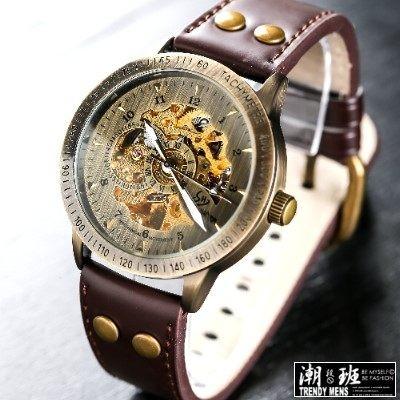 折扣5 折韓國復古銅色鏤空真皮錶帶機械錶男錶女錶對錶~SB030104 ~
