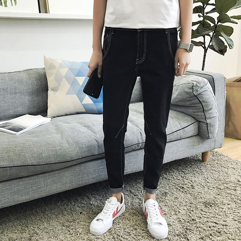 ~ ~春夏 男士牛仔褲 青年九分小腳褲純色 9 分褲子