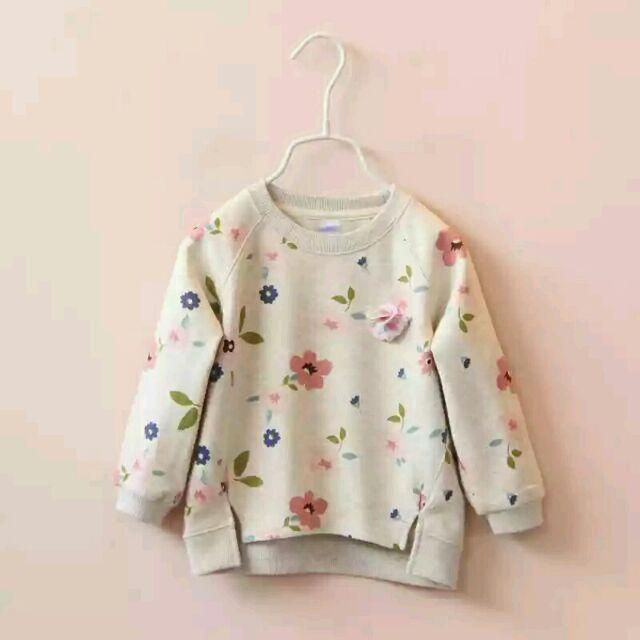 ~ 女童T shirt 清新花朵碎花小花圓領兒童寶寶長袖上衣 百搭 t shirt