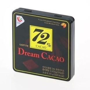 韓國樂天LOTTE Dream Cacao 夢幻 72 鐵盒裝純黑巧克力90g 情人送禮