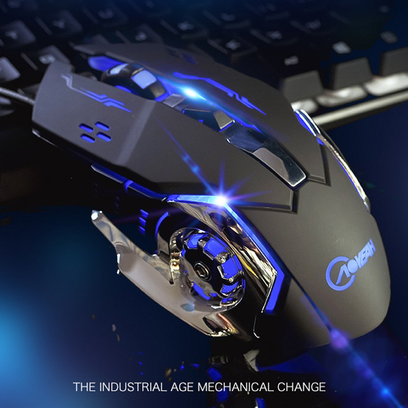 ⚙️沃野G502 牧馬人有線機械滑鼠電競遊戲英雄聯盟/鬥陣特攻 7 彩呼吸燈3200DPI