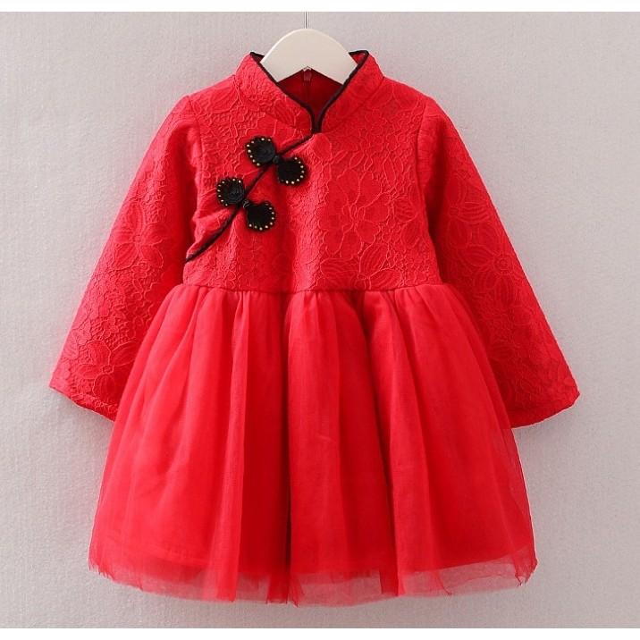 ⛔ ⛔加絨中國風旗袍紗裙洋裝 冬裝女寶寶寶過年喜酒喜宴