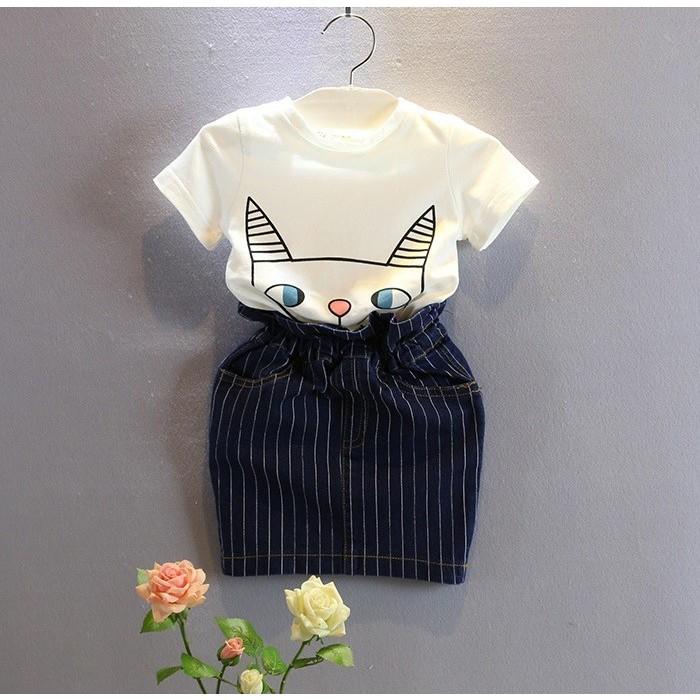 2016  女童呆萌貓咪短袖T 恤條紋短裙2 件套裝女童套裝