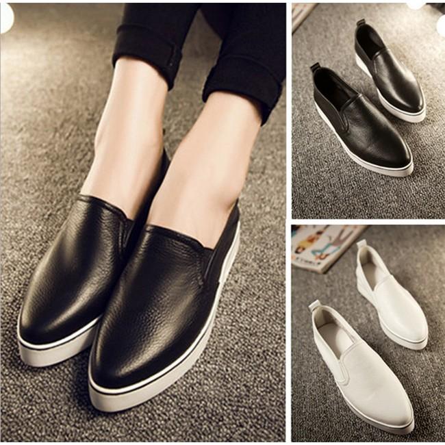 韓系懶人鞋樂福鞋潮款尖頭真皮小白鞋休閒鞋平底鞋35 40 CE3734 POCKET PC