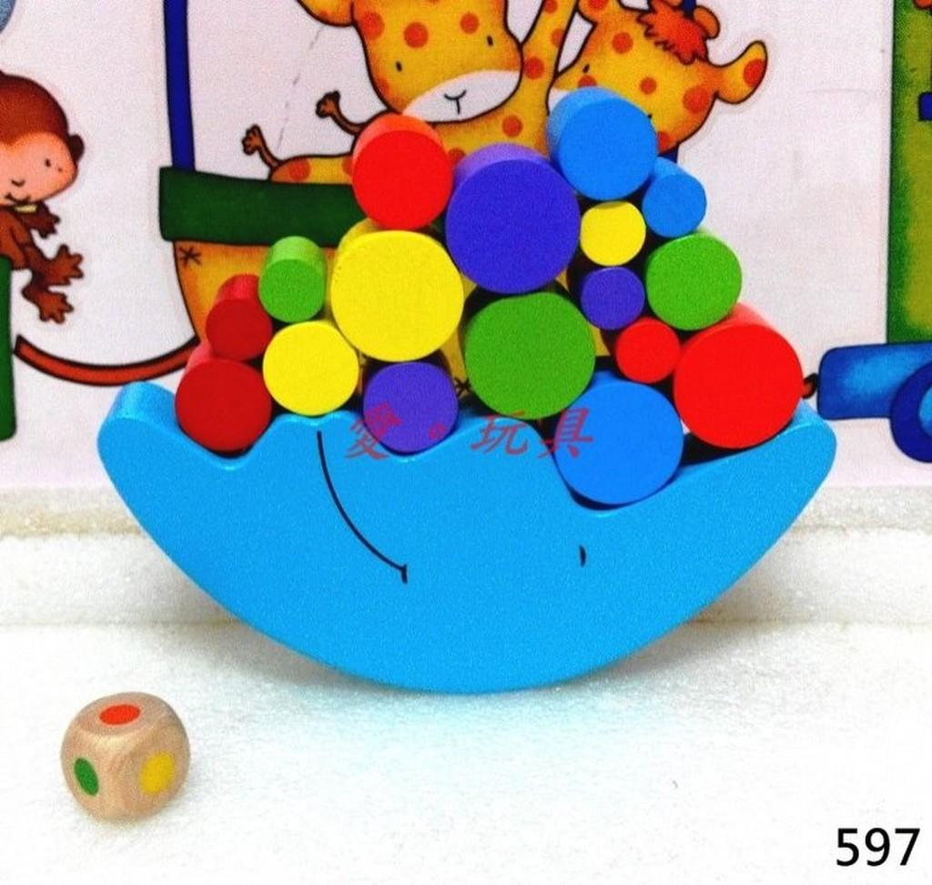 ~愛~玩具~597 木製月亮平衡手眼協調親子互動桌遊