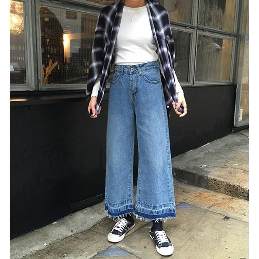 復古高腰百搭撞色拼接 抽鬚牛仔寬褲水洗漸層牛仔褲