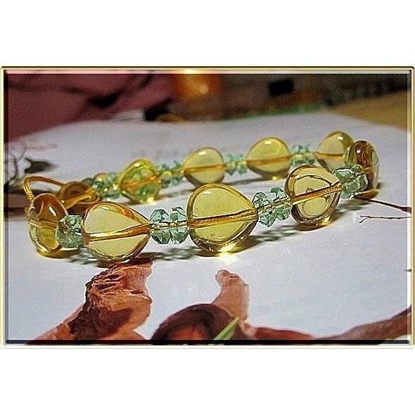 ~~~水晶世家~~~╭~11mm 心想事成心型黃水晶手鍊~╮~典雅秀麗款聚財開運利投資股市