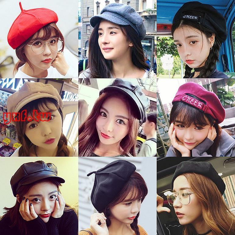 韓國鴨舌貝雷帽復古百搭畫家帽燈芯絨八角帽子女春 報童帽