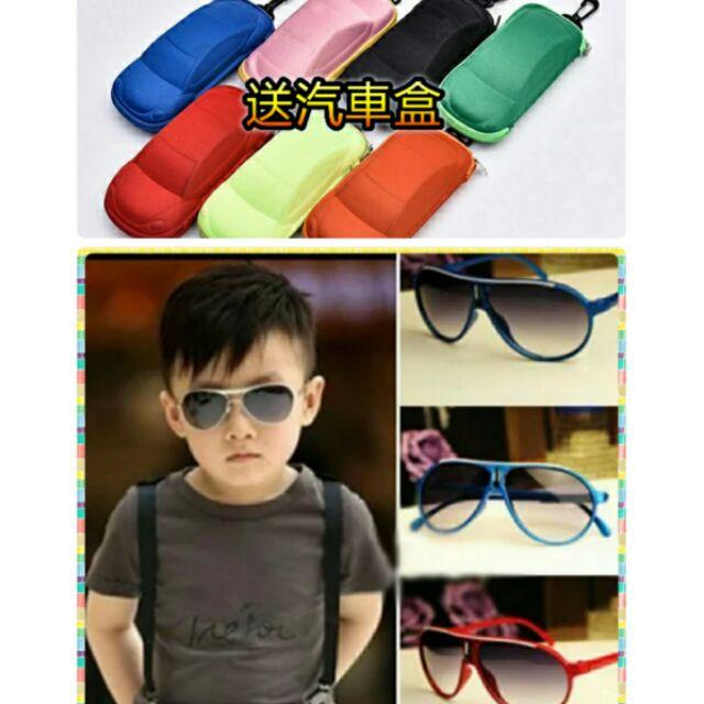 兒童太陽眼鏡墨鏡抗UV 防紫外線送汽車眼鏡盒男童 外出用品女童