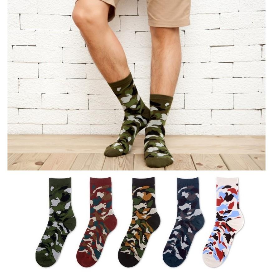 AJKE ~M152 ~ 迷彩中筒襪文藝中筒襪 迷彩男中襪舒適全棉男中襪