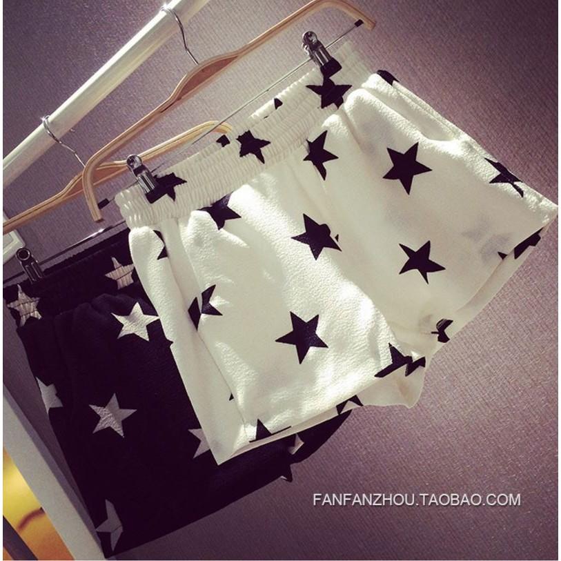 K 1075 韓款 休閒星星印花短款休閒顯瘦褲分顏色尺寸