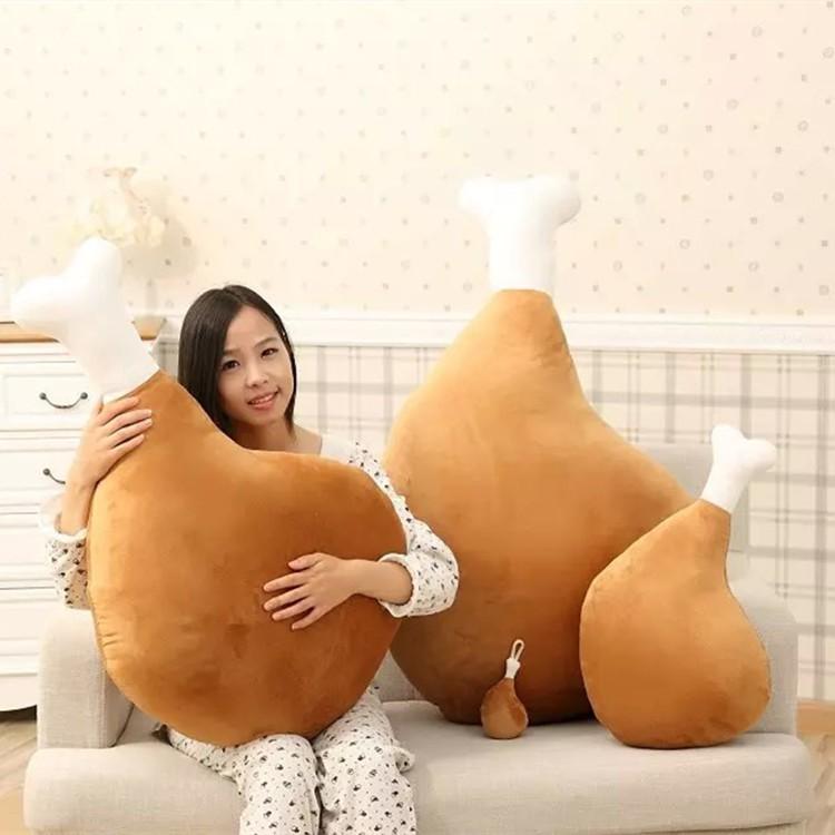 大雞腿毛絨玩具睡覺抱枕靠墊卡通搞怪公仔布娃娃女生生日 情人节節礼物CR0480 毛绒兒童沙