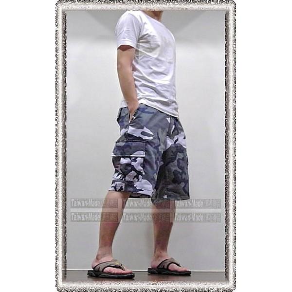 ~乙補庫~_ 美軍雪地迷彩、城市迷彩五分褲乳牛迷彩多口袋五分褲、黑白灰迷彩短褲